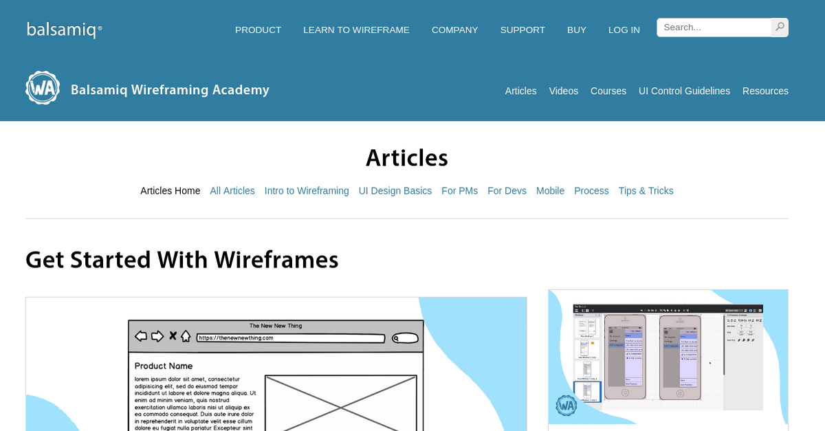 Articles | Wireframing Academy | Balsamiq