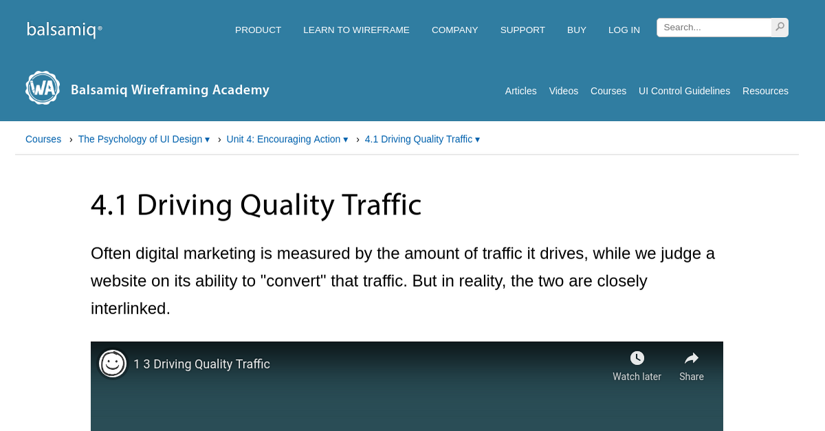4.1 Driving Quality Traffic | Wireframing Academy | Balsamiq