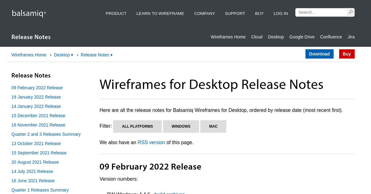 Wireframes for Desktop Release Notes - Release Notes ...