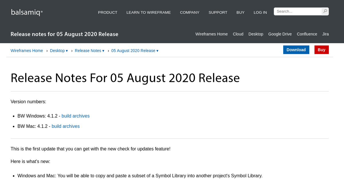 Balsamiq Wireframes Release Notes for 05 August 2020 ...